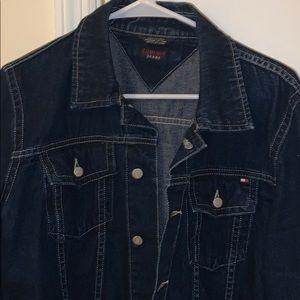 Tommy Cropped Dark Blue Jean Jacket